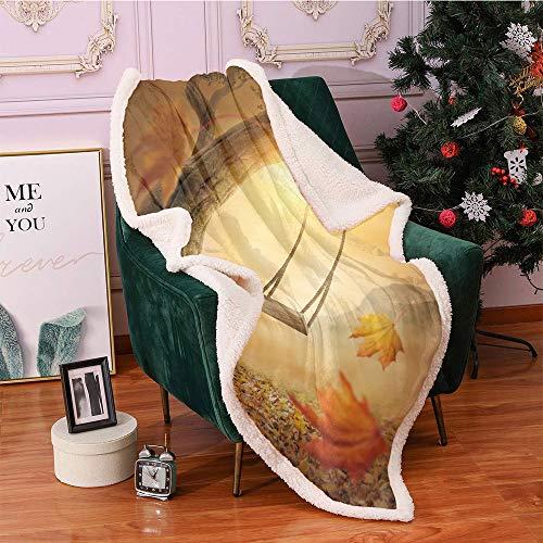 SeptSonne Surrealistic Plush Blanket,Dream Swing Hanged on Majestic Tree Magic Fall Season Childhood Picture Light Thermal Blanket, Throw Blanket(50x60 Inches,Orange Sand Brown)