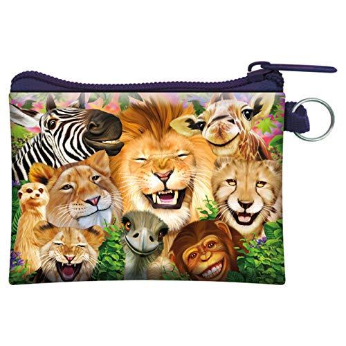 3D LiveLife Geldbörse Safari lächelt von Deluxebase. 3D-Wildtiergeldbörse. Bargeld und Kartenhalter mit sicherem Reißverschluss mit Kunstwerken, lizenziert vom renommierten Michael Searle