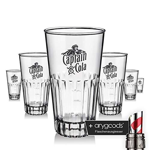 6 x Captain Morgan Glas Gläser 0,2l Acryl Design Abwaschbar Gastro Bar … NEU + anygoods Flaschenausgiesser