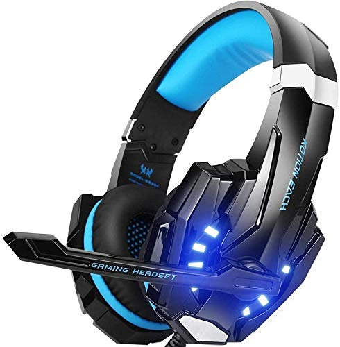EasySMX G9000 PS4 Stereo Gaming Headset with Mic LED Lighting Noise Cancellation and in-line Controller Compatible with PS4 Mobile Phones Laptop Tablet and Computer (Black and Blue)