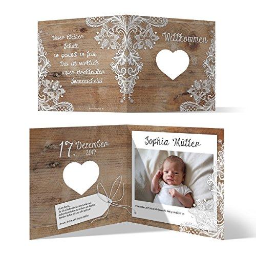 Lasergeschnittene Geburtskarten (30 Stück) - Rustikal mit weißer Spitze - Dankeskarten Geburt