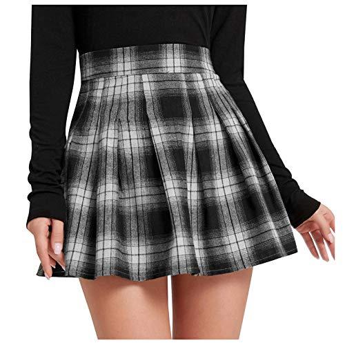 Women's Punk Check Skirts,Above Knee Mini Skirts Zip Skirt,Ladies Ruffles Retro High Waist Pleated Skirts,School Girl Casual Uniform Retro Skirt Black