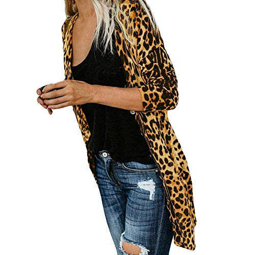 Tops de Leopardo para Mujer, Abrigo de Moda con Estampado de Leopardo de Manga Larga para Mujer, Camiseta sin Mangas, Blusa Elegante para Mujer (Amarillo XL)