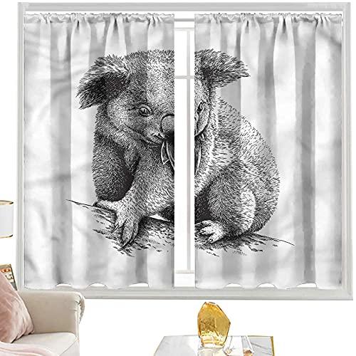 Cortinas de bolsillo para barra de Koala, Eucalipto Comiendo Australian W52 x L95 pulgadas Cortinas para dormitorio