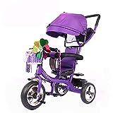 Aocean Triciclo Bebe Evolutivo,Trike Bike 4 EN 1 Triciclo para Niños +18 Meses Pedales con Capota Extraíble Plegable Barra Telescópica para Padres Triciclo de Empuje, Purple