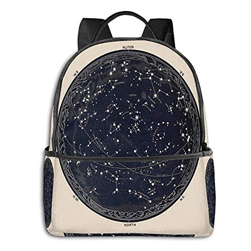 QQIAEJIA Mochila de poliéster de moda Mapa antiguo del cielo nocturno, astronomía del siglo XIX, todas las estaciones, unisex, de gran capacidad, duradera, escolar, al aire libre, diario, daypacks