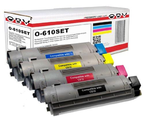 OBV 4x kompatibler Premium Toner für OKI C610 C610cdn C610dn C610dtn C610n schwarz, cyan, magenta, gelb