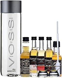 Whisky Probierset Tomatin 12 5cl,15 5cl und 18 Jahre 5cl, Jack Daniels Black 5cl, Jim Beam Black 5cl  500ml Voss Wasser Still, 2 Glencairn Gläser und eine Einwegpipette