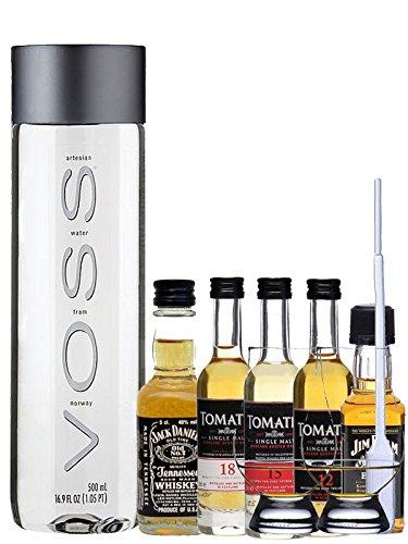 Whisky Probierset Tomatin 12 5cl,15 5cl und 18 Jahre 5cl, Jack Daniels Black 5cl, Jim Beam Black 5cl + 500ml Voss Wasser Still, 2 Glencairn Gläser und eine Einwegpipette