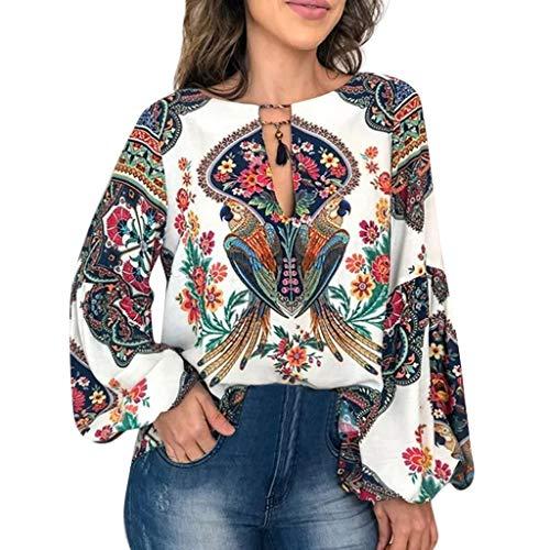 COZOCO 2019 Heiße verkaufende T-Shirts Frauen beiläufige Bluse personifizierte gedruckte Rundhalsoberseiten-Laterne-Hülsen-Hemd-lose Pullover-Bluse