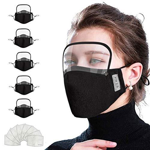 WWJJLL Breathable Gesichts-Schutz, Staub und Anti-Fog Adjustable Gesichts-Schutz mit Schutzbrillen, waschbar und wiederverwendbar Schutz Geeignet für Jedermann,5pcs Black,Adults