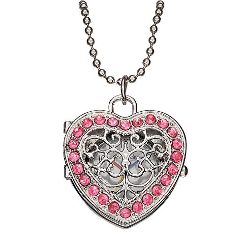 LEYUANA Mode Mädchen Rosa Uhren Frauen Quarz Taschenuhr, Anhänger Kette Halskette Herz Fall Uhr Pink