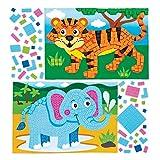Baker Ross- Kits de dibujos de animales de la selva para decorar con mosaicos (Pack de 4) - Manualidades infantiles para decorar con mosaicos