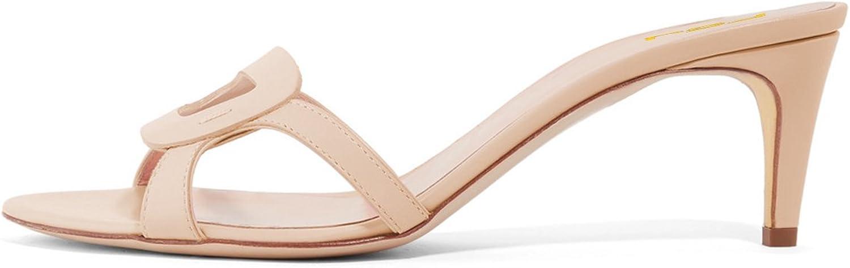 FSJ Women Summer Low Heels Sandals Open Toe Kitten Mules Cutout Slip On Casual shoes Size 11 Beige