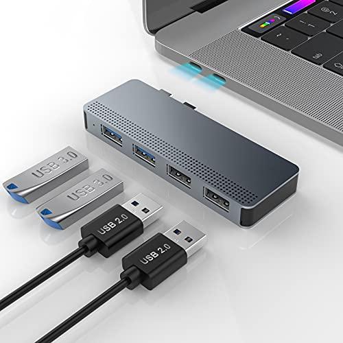 Rocketek Adattatore USB C per MacBook Pro/Air, Hub USB C 4 in 2 Adattatore USB MacBook Pro, Dual Hub Tipo C con 2 USB 3.0 e 2 USB 2.0 per MacBook Pro 2020/2019-2016, MacBook Air 2020-2018