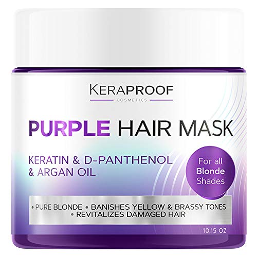 Purple Hair Mask - Shampoo Toner for Blond & Grey Hair after Bleach Dye - Silver, Blonde & Colored Hair Treatment with Keratin Argan Oil & Shea Butter No Yellow or Orange Shade for Women & Men 10 Oz