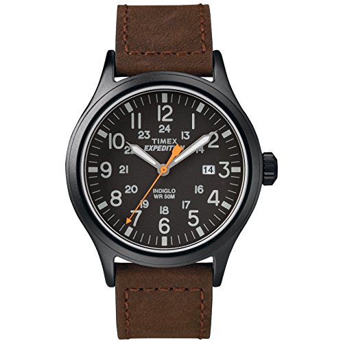 Timex Men's TW4B12500 Expedition Scout 40mm Brown/Black Leather Strap Watch