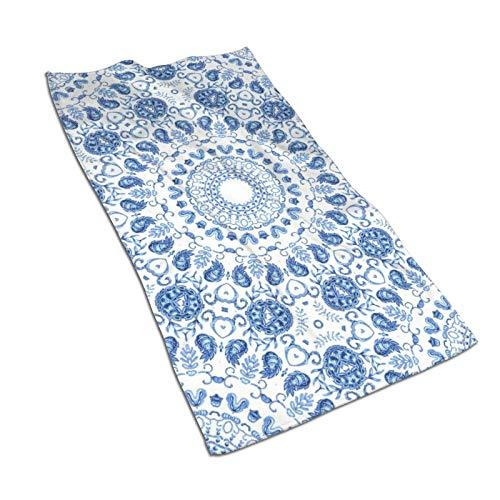 N\B Toalla de mano Boho Blue Mandalas para baño, súper suave, absorbente, toalla multiusos para baño, gimnasio y spa 27.5 x 15.7 pulgadas