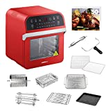GoWISE USA GW44801 Deluxe 12.7-Quarts 15-in-1 Electric Air Fryer Oven w/Rotisserie and Dehydrator + 50 Recipes (Red)