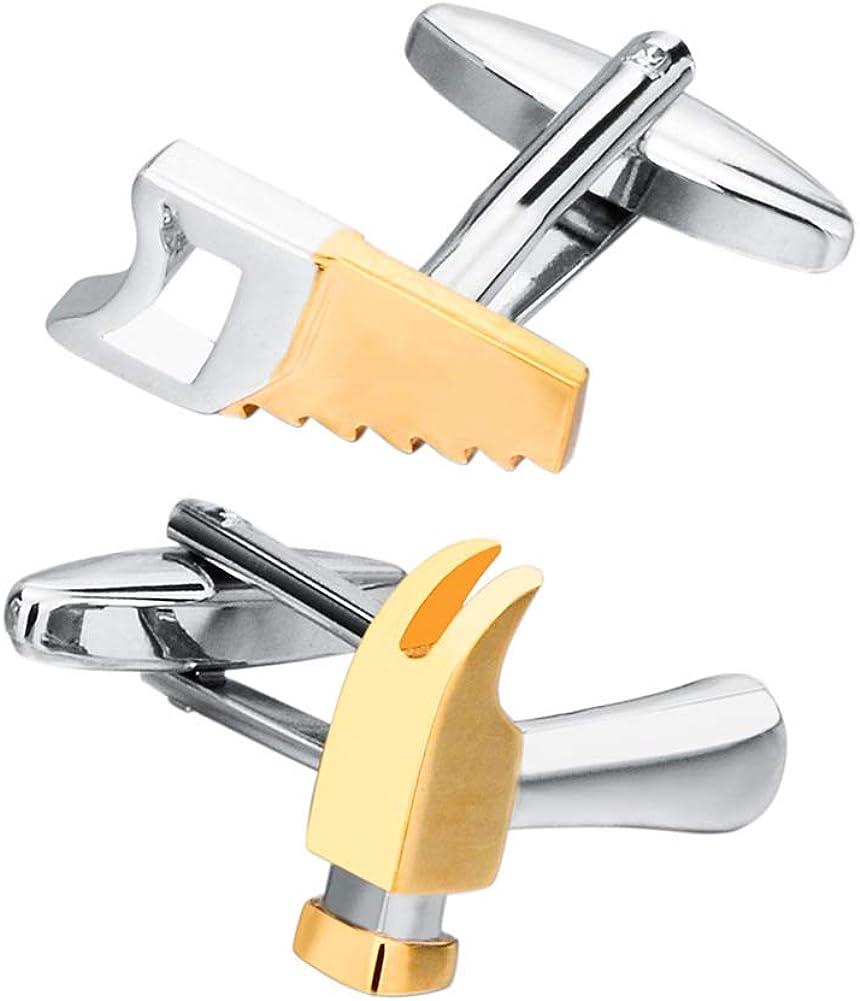 Hammer and Saw Tools Handyman Carpenters Gold Cufflinks