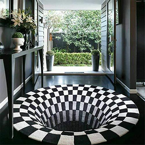 Zwei Runder Teppich - 3D-Teppich, Teppich Mit Optischer TäUschung, rutschfeste Bodenmatte Teppich Mit Optischem TäUschung Mit 3D-Wirbelmuster (80 x 120 cm)