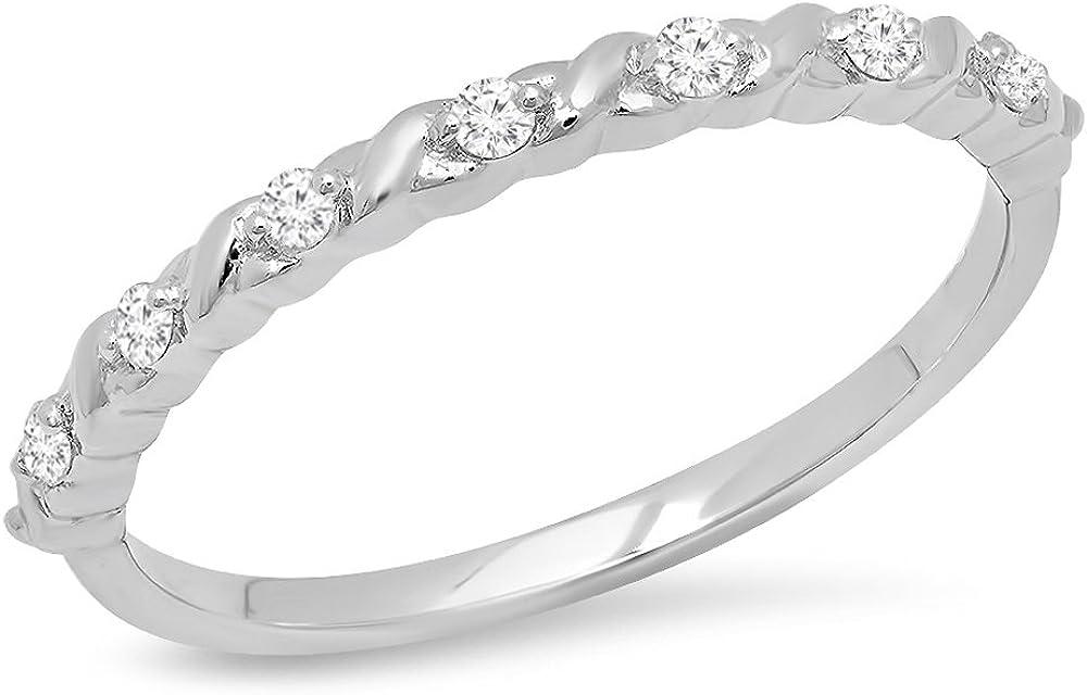 Dazzlingrock Collection 0.12 Carat (ctw) 10K Gold Round Cut White Diamond Ladies Stackable Anniversary Wedding Band