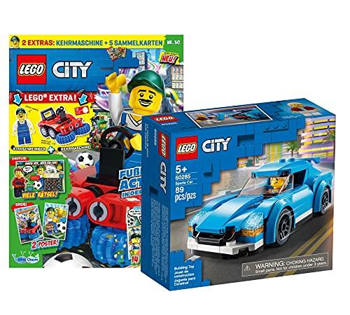 Lego Set - Lego City Sportwagen 60285 + Lego City Heft (Poster, Comics, Rätsel) inklusive Polybag Kehrmaschine