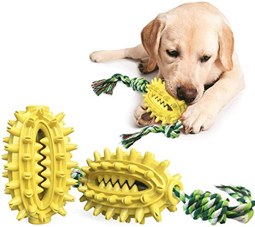 iBeazhu Dog Chew Toothbrush Toys with Teeth Cleaning and Food Dispensing Features, Dog Chew Toys for...
