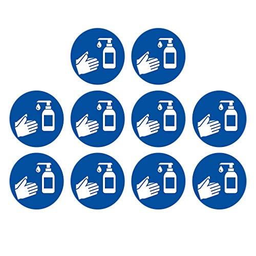 Señales de seguridad Saechora 1/6/10 unidades de etiquetas de limpieza a mano etiquetas autoadhesivas para suelo laminadas autoadhesivas señales de seguridad COVID-19 Salud y seguridad (35 x 35 cm)