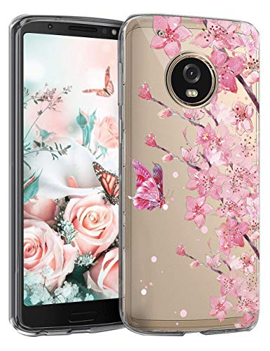 5-Blair Slim fit Case for Motorola Moto G5 Plus Case Flower Clear Soft TPU Transparent Silicone Shockproof Protective Cover Moto G5+ (C)