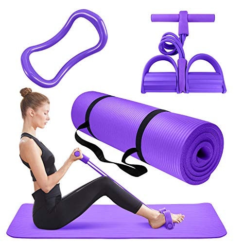 Thick Yoga Mat 3 Piece Set - Include 1 Yoga Excersize Mat with Carrying Strap, 1 Pedal Resistance Band, 1 Yoga Pilates Ring, Gym, Exercise, Pilates, Yoga, Workout Equipment for Home