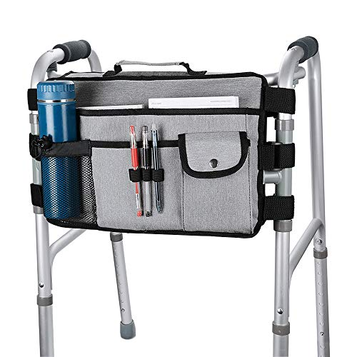 supregear Walker Bag, Multifunction High Quality Folding Walker Bag Organizer Pouch Tote with Handle Walker Accessory for Walker Rollator and Wheelchair, Easy to Install and Water Resistant - Grey