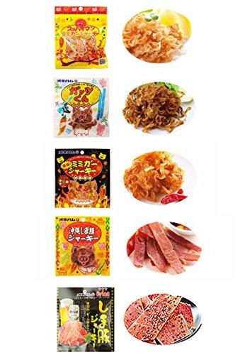 オキハムジャーキーミニ5種セレクト オキハム ミミガー・島豚などのジャーキーミニをもりもり詰め合わせ 豚の耳ジャーキーとスッパイマンとのコラボ商品も 沖縄土産にも最適