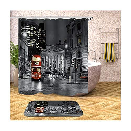 MaxAst Badematte 2 Teilig Set Grau & Rot Haus & Bus Duschvorhang Wasserdicht Und Anti-Schimmel Badezimmerteppich Polyester Badvorhang 165x180CM