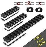 GUNPOW M-Lok Picatinny Rail, 5-Slot 7-Slot 13-Slot Lightweight M Lok Aluminum Picatinny Rail Section Accessories for M-LOK System with 6 T-Nuts & 6 Screws & 3 Allen Wrench, 3 Pack