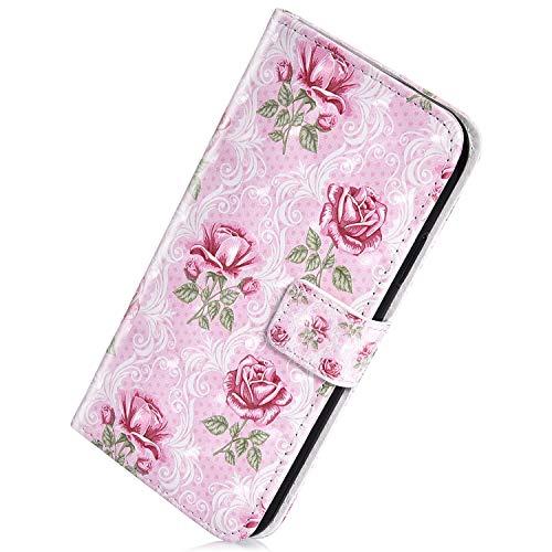 Herbests Compatible avec Samsung Galaxy A50 Coque Protection Etui en Cuir Coque à Rabat Magnétique Housse de Protection avec Motif Flip Wallet Case avec Porte-cartes 3D Coloré Peint Housse,Rose