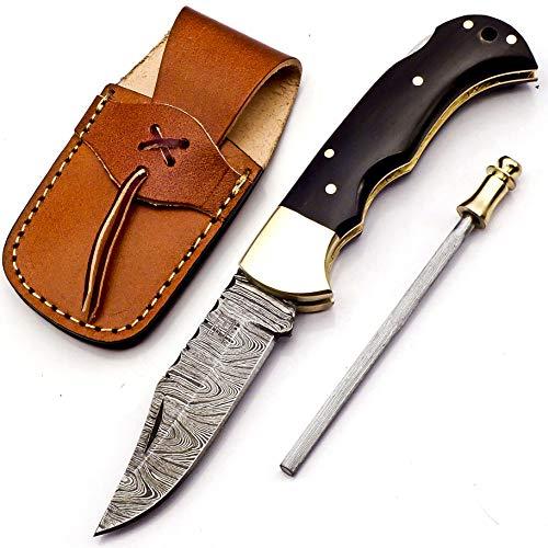 6.5 Inch Handmade Damascus Pocket knife for Men Folding Knife with back lock Small Pocket knife for Hunting Camping Hiking Damascus hunting knife with sheath Best EDC Camping Knife (Buffalo Horn)