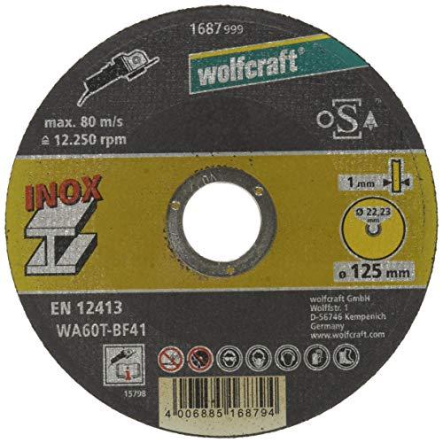 Wolfcraft 1687999 1 slijpschijven roestvrij staal, Ø 125 mm, boring Ø 222 mm, schijfdikte 1 mm, 12413