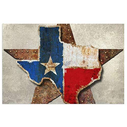 TGUBJGV Texas Flag Art Door Mat,Indoor Outdoor Entryway Front Door Welcome Mat 15.7 X 23.6inch, Non Slip Rubber Backing PVC Doormat, Waterproof, Easy Clean,Catches Dust and Snow, Entryway Rug