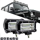 Ricoy - Barra de luz LED de 7 pulgadas, 2 unidades, 144W, luces de conducción todoterreno, focos LED