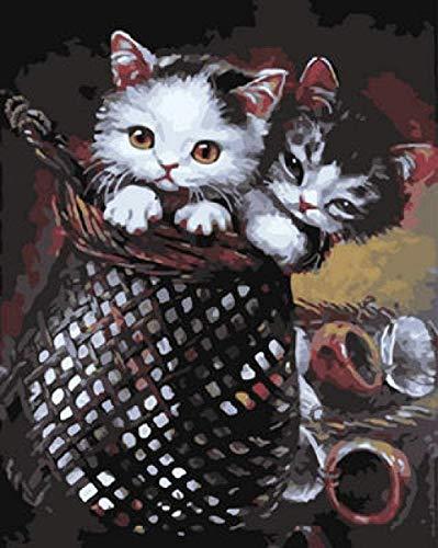 LCQF DIY Schilderen door cijfers voor volwassenen en kinderen -Acryl Linnen canvasOlie Schilderen Huisdecoratie Cadeau -Dieren kat in De Mand (40X50cm Frameless)