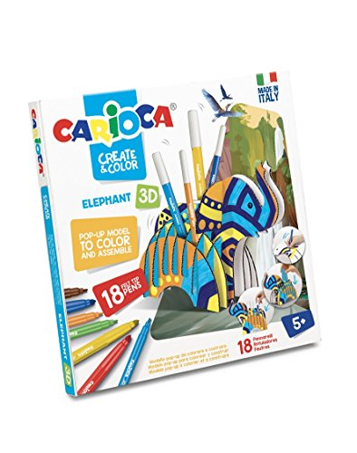 Carioca- Create & Color Pop-Up 3D con 18 Pennarelli Superlavabili-Elephant, 42902