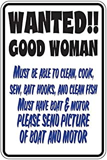 Wanted Good Woman Boat Motor - Funny Sign - Vinyl Decal Sticker - 5