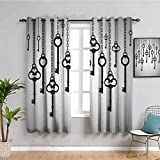 Antique Decor Heat Insulation Curtain Silhouettes of Old Keys Hanging Chain Links Unlocking Secure Home Opener Waterproof Fabric W52 x L63 Inch