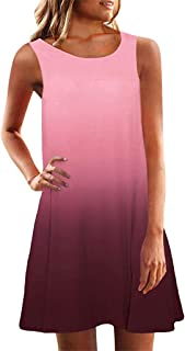 Women Skirts Short Sleeve Crew Neck Casual Loose Fitting Gradient Dresses Loose Comfy Dress