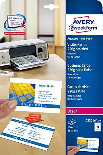 AVERY Zweckform C32016-10 Premium Visitenkarten, blanko (100 Stück, 220g, 85x54 mm, beidseitig bedruckbar, satiniert ultraweiß, absolut glatte Kanten, 10 Blatt) zum Selbstbedrucken auf Laser-Druckern