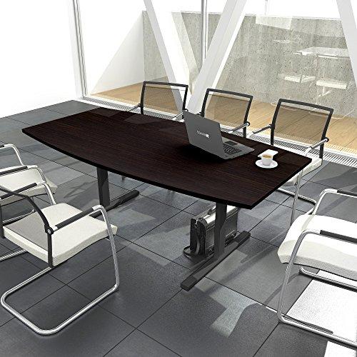 Weber Büroleben GmbH Easy Konferenztisch Bootsform 200x100 cm Wenge Besprechungstisch Tisch, Gestellfarbe:Anthrazit