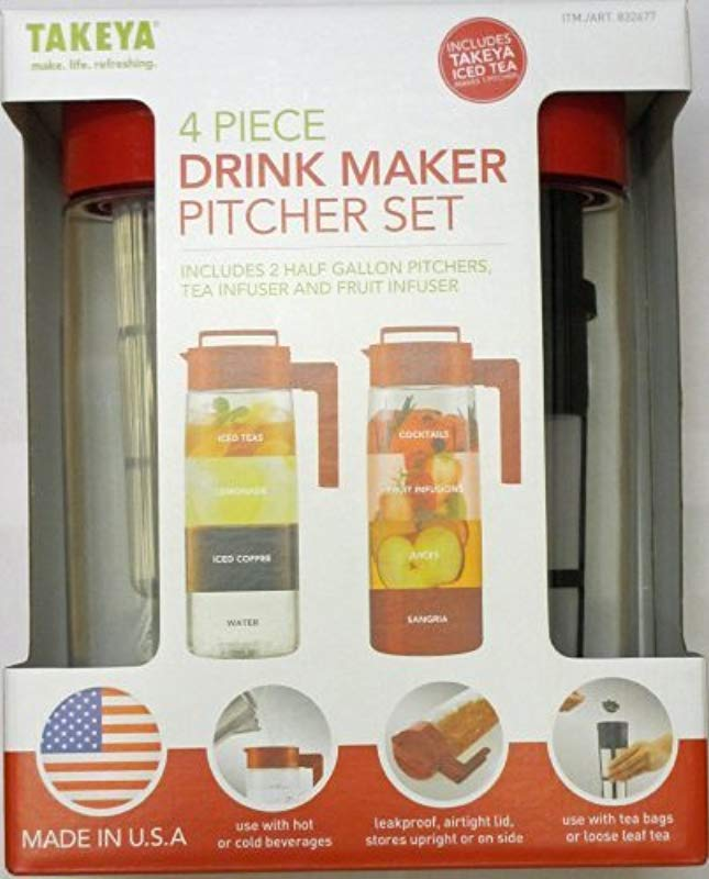 Takeya 4 Piece Drink Maker Pitcher Set Red