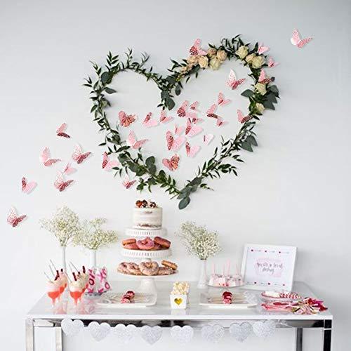 3D mariposa decoración de la pared extraíble conjunto de adhesivos murales coloridos suministros de fiesta de oro rosa para habitación de niños guardería aula telón de fondo cumpleaños boda(oro rosa)