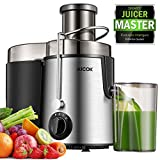 "Juicer Centrifugal Juicer Machine Wide 3"" Feed Chute Juice Extractor for Whole Fruit and Vegetables 600W, Stainless Steel Juicer with Pulse Function and 3 Speed Control, Easy to Clean, BPA-Free,AICOK"
